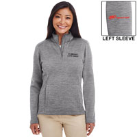 LADIES' MELANGE FLEECE 1/4 ZIP PULLOVER CO-BRAND