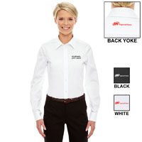 DRESS SHIRT, LADIES' STRETCH TWILL WITH CO-BRAND
